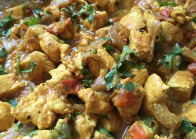 Chicken Curry with tomatoes and cilantro